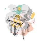 Vector sketch piano Stock Photos