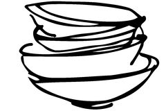 Vector sketch of a pile of dirty dishes Royalty Free Stock Images