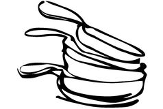 Vector sketch of a pile of unwashed pans. Black and white vector sketch of a pile of unwashed pans Stock Image