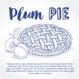Vector sketch plum pie recipe, line art, hand drawn illustration on a notebook page for cook book royalty free illustration