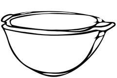 Vector sketch porcelain soup plate soup. Black and white  sketch porcelain soup plate soup Stock Images