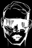 Vector sketch for a portrait of a man in sunglasses Stock Images