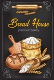 Vector sketch poster for bakery bread house. Bakery or bread house sketch poster of baked bread and flour bag. Vector design template for baker shop of fresh royalty free illustration