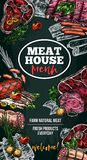 Vector sketch poster for meat house delicatessen. Meat house poster of sausage delicatessen and natural fresh farm meat. Vector sketch meaty pork filet, beef royalty free illustration