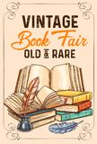 Vector sketch poster of old rare vintage books. Old vintage books and rare literature sketch poster for library or bookshop and bookstore fair. Vector design of stock illustration