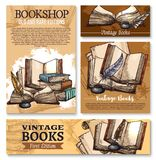 Vector sketch poster for old vintage books library Royalty Free Stock Photos