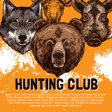 Vector sketch poster of wild animals hunting club. Hunting club sketch poster design template of wild animals for open season. Vector hunter trophy hunt prey of Stock Photography