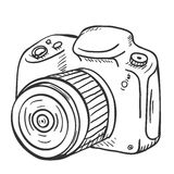 Vector Sketch Reflex Camera with Lens Royalty Free Stock Photo