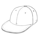 Vector Sketch Retro Baseball Cap with Flat Peak Royalty Free Stock Photography