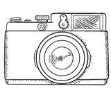 Vector Sketch Retro Photo Camera. Front View. Stock Photos