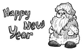 Vector sketch of Santa Claus. Christmas Royalty Free Stock Photo