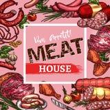 Vector sketch sausages and meat delicatessen. Meat house menu or poster sketch design template of meat delicatessen, sausages and farm meaty products. Vector vector illustration