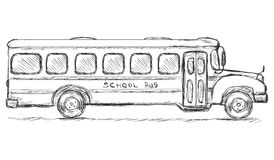Vector Sketch School Bus. Side View. Vector Sketch School Bus on White Background Stock Image