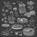 Vector sketch set Arabic cup and coffeepot, vintage coffee grinder, Oriental sweets, roasted coffee beans. Illustration. Black and white items of the coffee Stock Image