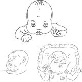 vector Sketch set of the baby Royalty Free Stock Images