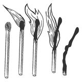 Vector Sketch Set of Burning Matches. Different Stages of Combustion Royalty Free Stock Image