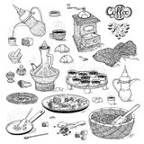 Vector sketch set drawing Arabic cup and coffeepot, vintage coffee grinder, Oriental sweets, roasted coffee beans. Illustration black and white items of the Royalty Free Stock Images