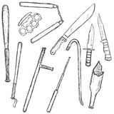 Vector Sketch Set of Edged Weapon Royalty Free Stock Image