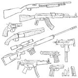 Vector Sketch Set of Firearm Weapons. On White Background Stock Photography