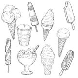 Vector Sketch Set of Ice Cream Royalty Free Stock Photography