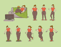 Vector sketch set illustration of how a fat girl loses weight. Young woman eat and measures the weight on scales and Royalty Free Stock Photo