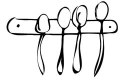 Vector sketch of a set of large spoons hanging on the wall Stock Image