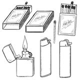 Vector Sketch Set of Matches, Matchboxes and Lighters. Royalty Free Stock Image