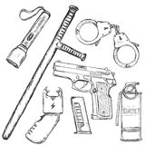 Vector Sketch Set of Police Weapon and Equipment. On White Background Stock Photo