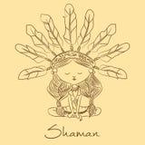 Vector sketch. Shaman redskin. Stock Image