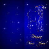 Vector sketch of sheep, symbol New Year on blue Stock Photography