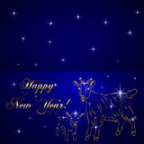 Vector sketch of sheep, symbol New Year on blue Stock Photo