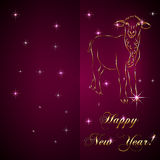 Vector sketch of sheep, symbol New Year on red. Vector abstract gold sketch of sheep, symbol of New Year 2015 on red Background Royalty Free Stock Image