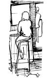 Vector sketch of a single woman drinking coffee at the bar on a Royalty Free Stock Photography