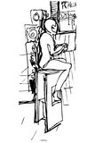 Vector sketch of a single woman drinking coffee at the bar on a. Black and white vector sketch of a single woman drinking coffee at the bar on a stool Royalty Free Stock Images