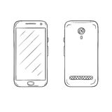 Vector sketch of smartphone Royalty Free Stock Photography