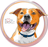 Vector sketch smiling dog American Staffordshire Terrier breed Stock Photo