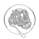 Vector sketch of spaghetti plate.  on white. Stock Photo