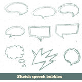 Vector sketch speech bubbles set. EPS10 Stock Photo
