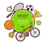 Vector sketch sport symbol icon pattern poster. Vector sketch sport symbols icon pattern poster. Detailed bicycle, mountain bike, first place gold medal, golden Royalty Free Stock Photography