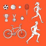 Vector flat sketch sport symbols monochrome icon. Vector sketch sport symbols monochrome icon set. Sportive running girl, man bicycle, mountain bike, first place Stock Images