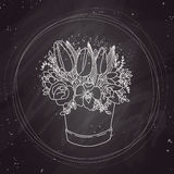 Vector sketch, spring bouquet on chalkboard stock illustration