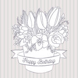 Vector sketch, spring bouquet with happy birthday wish Royalty Free Stock Photo