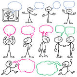 Vector sketch stick figures with blank dialog bubbles stock illustration