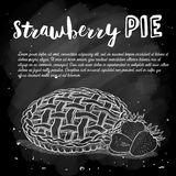 Vector sketch strawberry pie reciep, lime art, hand drawn illustration on a chalkboard vector illustration