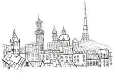 Vector sketch of street scene in Lviv, Ukraine. stock illustration