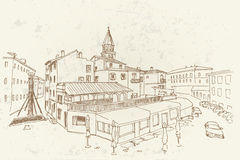 Vector sketch of street in Zadar. Croatia. Stock Photos