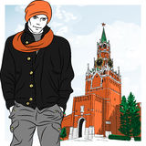 Vector sketch of the stylish guy in Moscow Royalty Free Stock Image