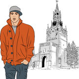 Vector sketch of the stylish guy in Moscow Royalty Free Stock Photos