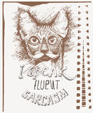 Vector sketch of a stylized kitten's face with eyeglasses and text I speak fluent sarcasm. Hand-drawn cute fluffy cat Stock Images