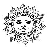 Stylized sun with a womans face Royalty Free Stock Images